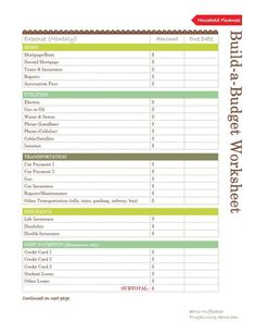 house budget worksheet
