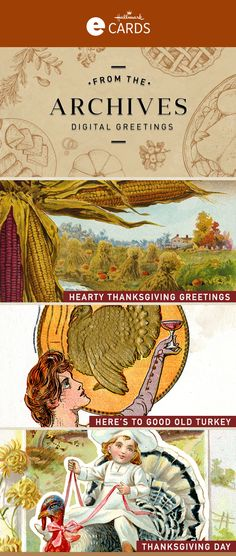 Send Vintage Thanksgiving eCards from the Hallmark archives. Browse the selection of eCards, personalize & send an online greeting today! Thanksgiving Ecards, Thanksgiving Greetings, Vintage Thanksgiving, Thanksgiving Turkey, Hallmark Cards, Harvest Season, Give Thanks, Vintage Cards, Good Old