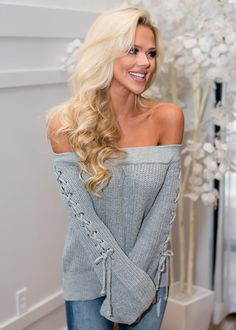 Off Shoulder Lace Up Belle Sleeve Top Gray, Shopmvb, Women's Boutique, Online Shopping, Fashion, Style,  Modern Vintage Boutique