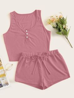 Shop Button Front Tank Top With Shorts PJ Set at ROMWE, discover more fashion styles online. Sexy Pajamas, Cute Pajamas, Pajamas Women, Pyjamas, Cute Lazy Outfits, Stylish Outfits, Girl Outfits, Emo Outfits, Cute Sleepwear