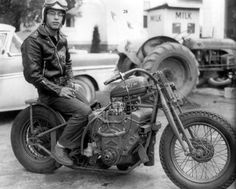 "EJ Potter (a.k.a. ""The Michigan Madman"") with his Chevy V8 powered bike called the Widowmaker."