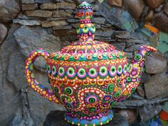 Upcycled Clay Mosaic Teapot The Lovely Lady by CrazieHappy on Etsy, $145.00