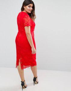 8df16a8842e75 ASOS CURVE Lace Crop Top Midi Pencil Dress at asos.com