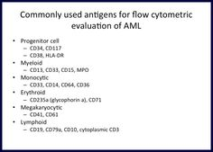 Acute Myeloid Leukemia (AML) is a malignant proliferation of myeloblasts in the blood and bone marrow. Acute Myeloid Leukemia, Flow Cytometry, Blood And Bone, Science, Med School, Medical Students, Markers, Lab, Notes
