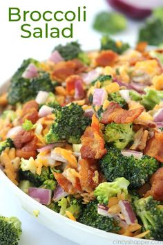 You will find this Creamy Broccoli Salad loaded with bacon, red onion, cheese, and a delicious dressing. It's a perfect side dish for any meal and also great for summer potlucks and bbqs. Easy Broccoli Salad, Broccoli Recipes, Brocolli Salad With Bacon, Raw Broccoli, Broccoli Raisin Salad, Broccoli Cauliflower Salad, Easy Summer Meals, Summer Recipes, Summer Potluck