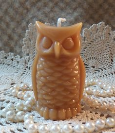 Beeswax Candle Small Stylized Shaped Owl Candle from Peace Blossom Candles Soap Carving, Candle Art, Unique Candles, Light My Fire, Candels, Beeswax Candles, Birthday Candles, Candle Holders, Owl