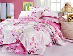 Best Selling Lovely Pink Flower Print 4 Piece Bedding Sets #cheapbedding #beddingsets @bedding inn