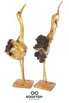 Pair Of Heron Or Crane Burled Wood Folk Art Carved Sculptures Male Female Birds  .  .  #InteriorDesign #VintageDesign #FolkArt #HomeDecor