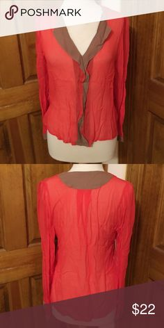 Orange red color and brown top in great condition Nice top to wear with jeans or pair with pants or skirt for an evening out Sam & Libby Tops