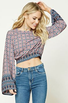 Forever 21 Contemporary - A woven crop top featuring an allover baroque inspired print, a round neckline with a back button closure, a vented back with a self-tie hem, long bell sleeves, and a boxy silhouette.