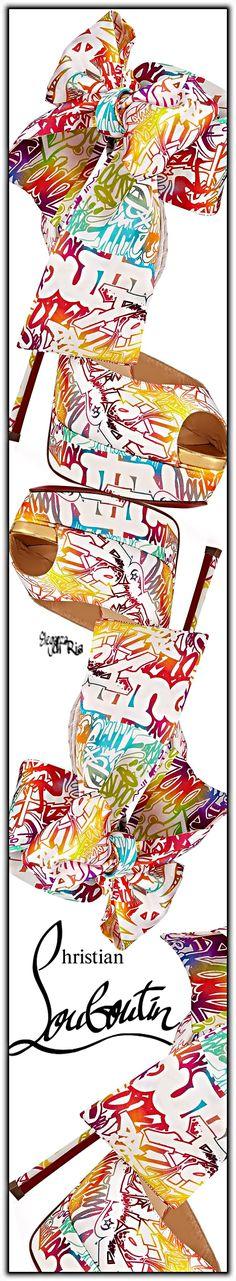 #elaganzadiria #christianlouboutin #neon #graffiti #print #crepe #satin #pumps Christian Louboutin Neon Graffiti Print Crepe Satin Pumps Eleganza di Ria