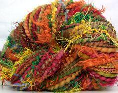 Kitty Grrlz FunctionArt HandSpun Art Yarn - Tutti Frutti - merino wool, bulky, more skeins available here: http://www.etsy.com/shop/kittygrrlz