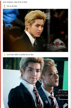 kekeke this explains Kris' facial expressions~ he is like sexy faced Kris then few minutes later we have derpy or dorky Kris~ keke