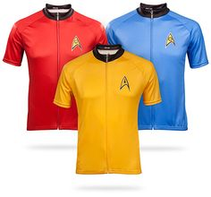 (Not even that big of a fan, but these are cool cycling jerseys.) ThinkGeek :: Star Trek Uniform Cycle Jersey