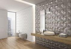 Badezimmer Fliesen Ideen installieren 3D Fliesen zu hinzufügen Textur, Ihr Bad / / die metallische Fliesen auf eines dieser Badezimmerwände geben dem Badezimmer eine glamouröse Atmosphäre während der weißen 3D Fliesen an den Wänden eine subtile Textur hinzufügen.