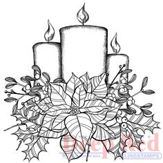 Deep+Red+Stamps+-+Christmas+-+Cling+Mounted+Rubber+Stamp+-+Poinsettia+Candles+at+Scrapbook.com