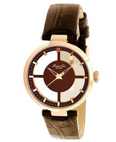 Kenneth Cole New York Watch, Women's Brown Croco-Grain Leather Strap 36mm KC2647 - Women's Watches - Jewelry & Watches - Macy's
