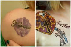 My LONG awaited cover up tattoo! Before and after...symbolic of Jesus Christ filling up that void in my heart....LOVE