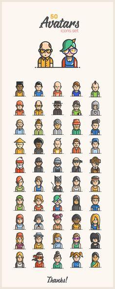 Avatars icons on Behance