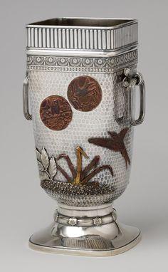 Gorham sterling silver and mixed metal vase, c1880 (Metropolitan Museum of Art)