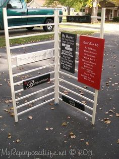 How about repurposing that crib for your vinyl signs?