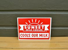 Sunset Milk Tin Lithograph Sign, Vintage Metal Sign, Milk Sign, Cottage Art, Advertising Sign Cottage Art, Vintage Metal Signs, Advertising Signs, Tin Signs, Paint Finishes, Pretty Good, Red And White, Gallery Wall, Milk