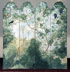 Painted screen by Michael Dillon Folding Screen Room Divider, Room Screen, Folding Screens, Room Dividers, Home Interior, Interior And Exterior, Interior Design, Chinoiserie, Dressing Screen