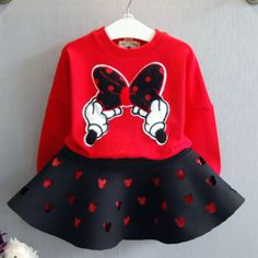 Bowknot Top And Hollowed Skirt Set