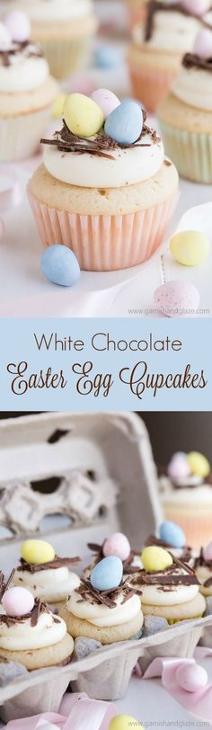 With a moist fluffy cake and rich white chocolate frosting, these adorable White Chocolate Easter Egg Cupcakes are sure to be a hit!