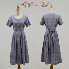Vintage dress 70s 80s retro mod gingham print hippie by ByJuliet