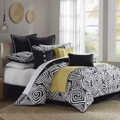Hampton Hill Calypso Bedding Collection #dorm I want a black and white dorm room with an accent color!!!