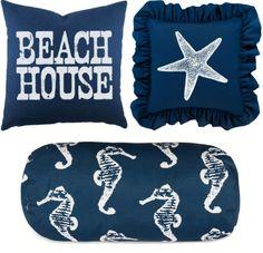 Navy Blue Coastal Pillows.... http://www.completely-coastal.com/2017/01/navy-blue-pillows-for-coastal-style.html