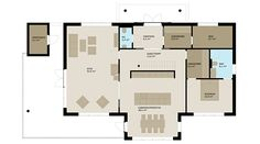Rominndelingen er praktisk og elegant løst. På hovedplanet er en egen foreldreavdeling; med soverom, bad og garderoberom - pluss stue, kjøkken og spisestue. Kjøkkenet er romslig med både kjøkkenøy og en vegg med god skapplass. Spisestuen ligger i tilknytning til kjøkkenet ved en vindusvegg med utgang til verandaen. Vegg i vegg med kjøkkenet ligger stuen. De store vinduene vil nok ta mye av oppmerksomheten også i dette rommet. Stuen er på 44 kvm. og har rom for flere sittegrupper.