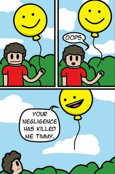 """There needs to be a comma before the dying ballon says """"Timmy"""""""
