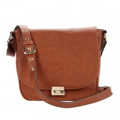 Women's Cognac Vegan Leather Vegan Saddle Bag | Sequoia by Sole Society