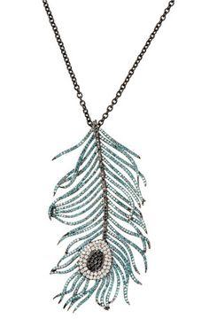 Black Rhodium And Diamond Feather Pendant by Niko Koulis
