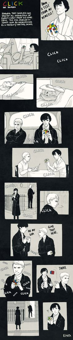 it's a wonderful thought that john could solve a rubik's cube faster than sherlock. :D