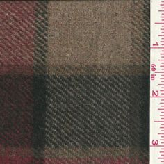 Red/Tan Plaid Wool Coating - Fabric By The Yard