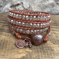 4x Light Czech Glass Wrap Bracelet on Rustic Brown Leather with Copper Lotus Button Closure and Charm by KyaraCreations on Etsy