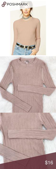 "Forever 21   Blush Pink Ribbed Long Sleeve Forever 21 Contemporary blush pink ribbed long sleeve top. Size medium. Bust: 24"" Length: 21"" Forever 21 Tops Tees - Long Sleeve"