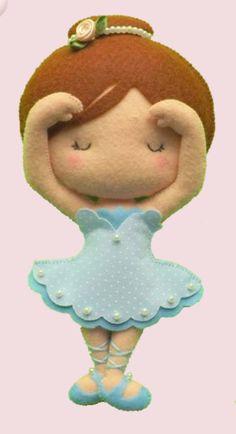 bailarina em feltro Felt Baby, Fabric Toys, Felt Christmas Ornaments, Felt Patterns, Felt Toys, Doll Crafts, Felt Animals, Handmade Toys, Diy And Crafts