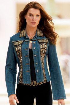 Of old jeans. Part jackets, coats. Denim Fashion, Boho Fashion, Womens Fashion, Kleidung Design, Diy Vetement, Mode Jeans, Denim Ideas, Embellished Jeans, Denim And Lace
