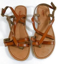 Old Navy Brown Strappy Flat Sandal Gold Side Buckle Size 7 Ladies #OldNavy #AnkleStrap #Casual
