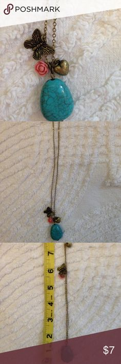 """16"""" Faux Turquoise Charm Necklace 16"""" Charming faux turquoise charm necklace with butterfly, heart and rose charms in fine condition. Brass charms on brass link chain. Jewelry Necklaces"""