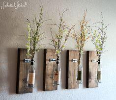 Wine Bottle Wall Vase // SET OF FOUR by SmokestackStudios on Etsy