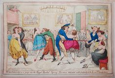 Three couples dance immodestly in a space bordered by a red rope behind which are many spectators. The breasts and shoulders, and sometimes the arms, of the women are bare, their skirts short and edged with transparent lace. A fourth couple stand arm-in-arm on the extreme right, inspecting a lady seated on a bench. A corner of the musicians' gallery is on the left. The men's costume also is caricatured. All wear tail-coats and high collars; one wears very tight and short pantaloons, another…