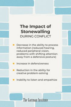 Do you know the impacts of stonewalling during conflict? Reduce stonewalling by learning to take a break and self-soothe (Dr. John Gottman recommends self-soothing for at least twenty minutes). Download this month's free resource and start applying this Gottman concept to your relationship today when you sign up for the Love Notes newsletter. Relationships Are Hard, How To Improve Relationship, Gottman Method, Gottman Institute, John Gottman, Being Good, Anger Management, Love Can, Love Notes