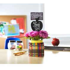 Show your teacher appreciation with a DIY creative  crafty gift using crayons. Don't forget to add a Michaels gift card!