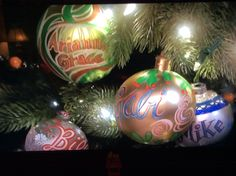 Collage of Horton ornaments: Arianna Grace, Gabi, Bill and Mike