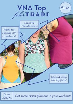 VNA Top PDF sewing pattern – Fehr Trade-shallow V with lots of arm movement and styles $11